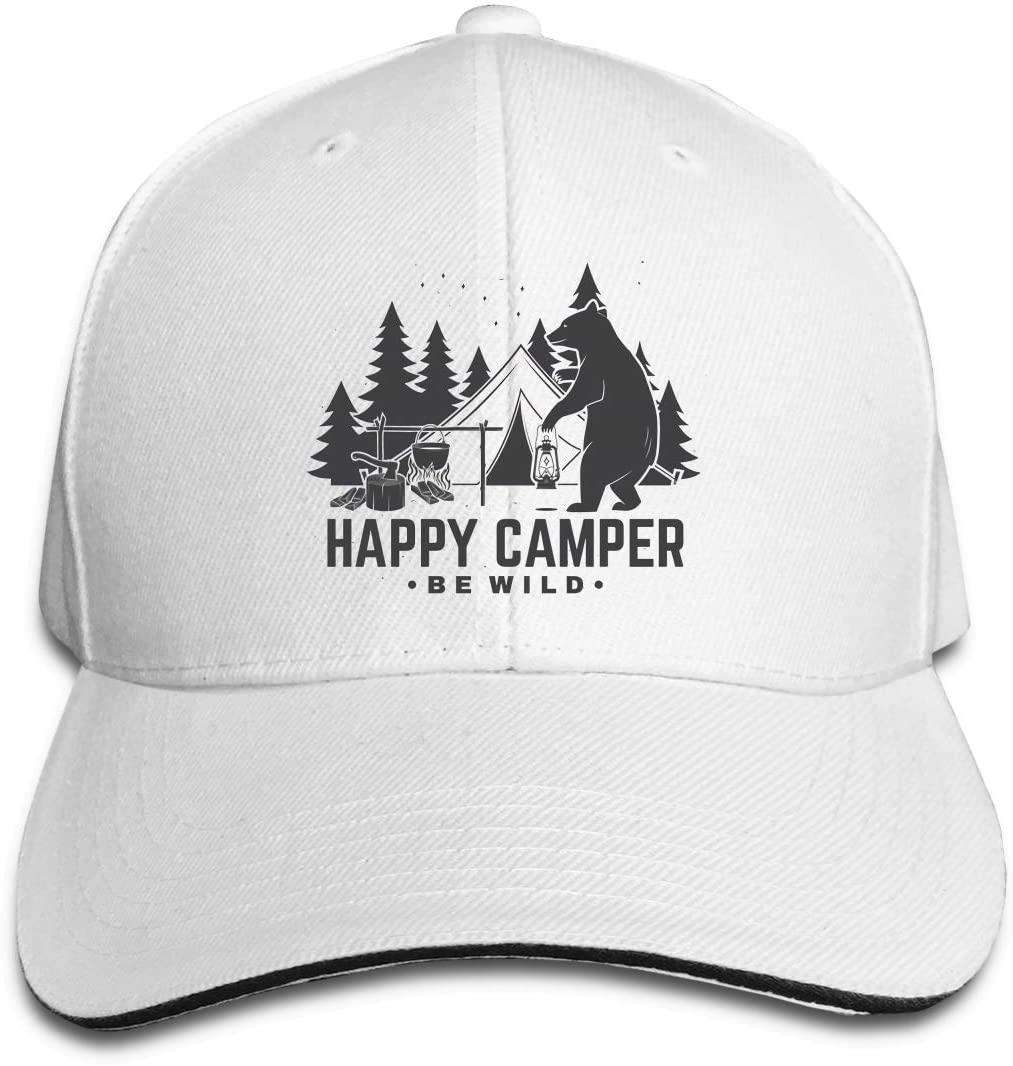 IASIFD Happy Camper Unisex Flex-fit Hat Hip Hop Baseball Cap Sun Hat Outdoor Cap White