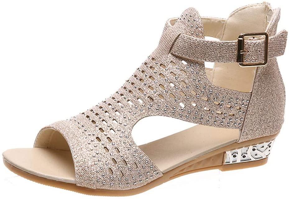Hattfart Women Casual Sandals Shoes Peep Rhinestones Open Toe Flat Gladiator Sandal Summer Beach Shoes
