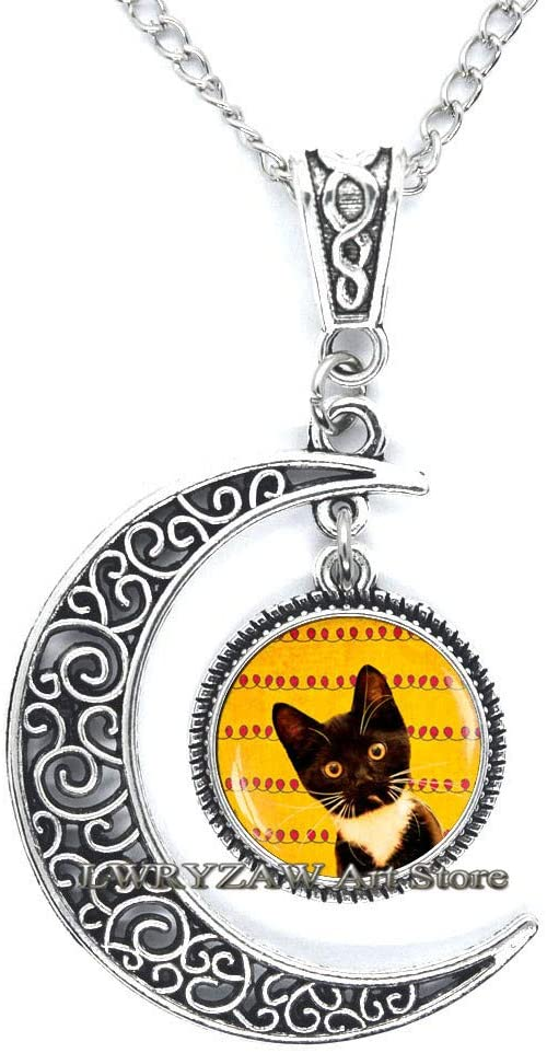 Black cat Necklace,cat Necklace, Cat Lover Gifts, Cute Pendant, Witch Jewelry,Art Pendant,Simple Necklace,Handmade Necklace,M127