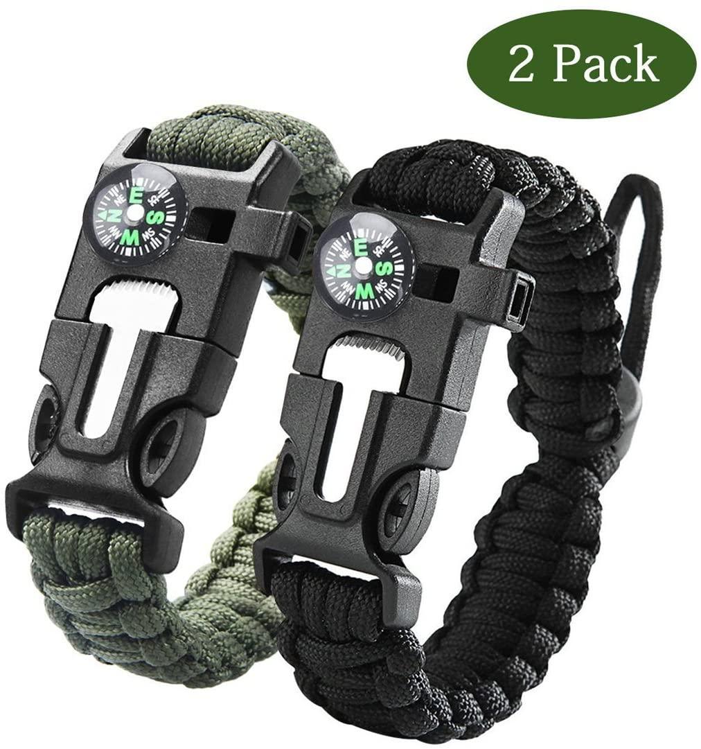 Feel Young Survival Bracelet Hiking Gear Travelling Camping Gear Kit Multifunction Bracelet(2pack)