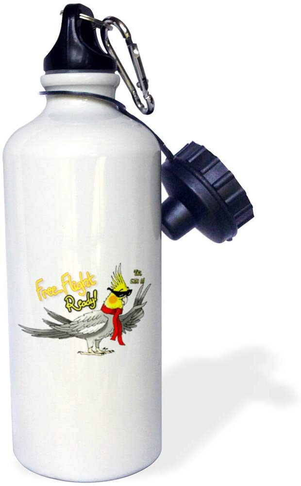 3dRose Skye Elizabeth Designs - Free Flight Ready Cockatiel - 21 oz Sports Water Bottle (wb_320534_1)