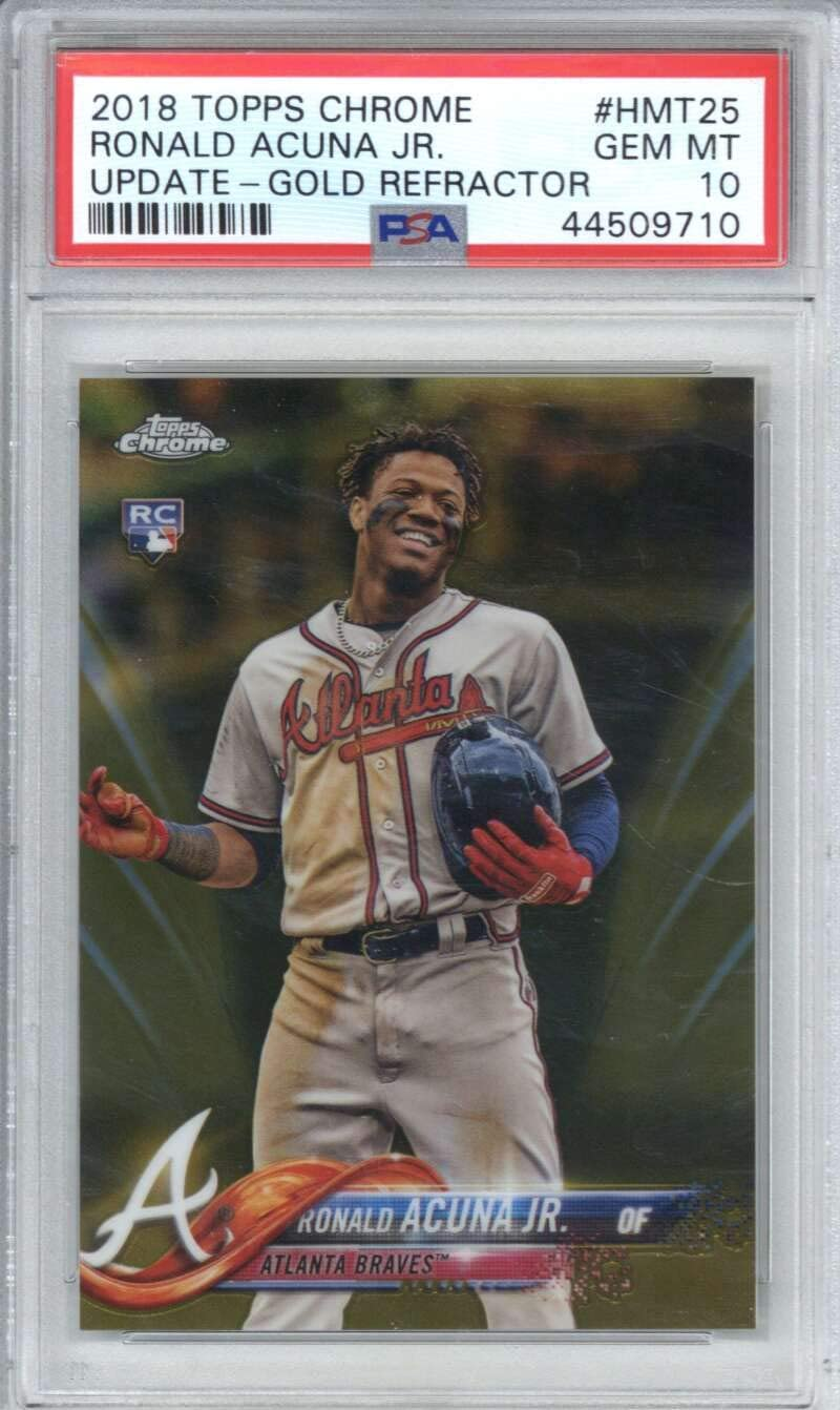 Ronald Acuna Jr 2018 Topps Chrome Rookie Update Gold Refractor #HMT25 /50 PSA 10