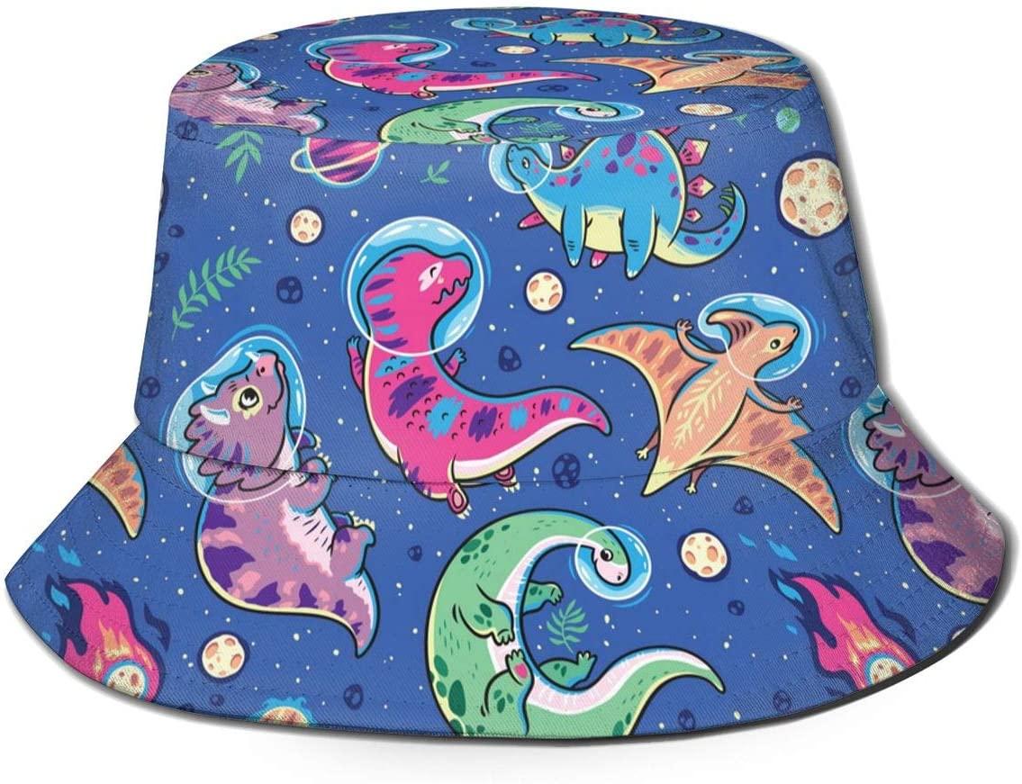 Nice Music Cute Funny Anime Dinosaur Dino Space Galaxy Blue Print Bucket Hat Fisherman Fishing Sun Cap for Adult Women Men Girl Boy Unisex