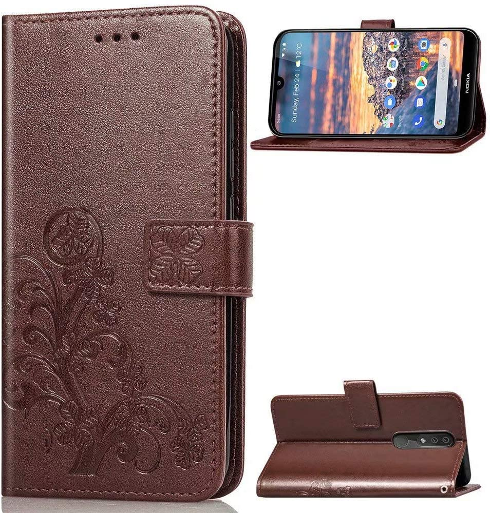 Luckyandery Leather flip case for Nokia 4.4,Nokia 4.4 case Card, Leather Wallet Case,Flip Case Cover with Stand Function & Credit Card Slots for Nokia 4.4