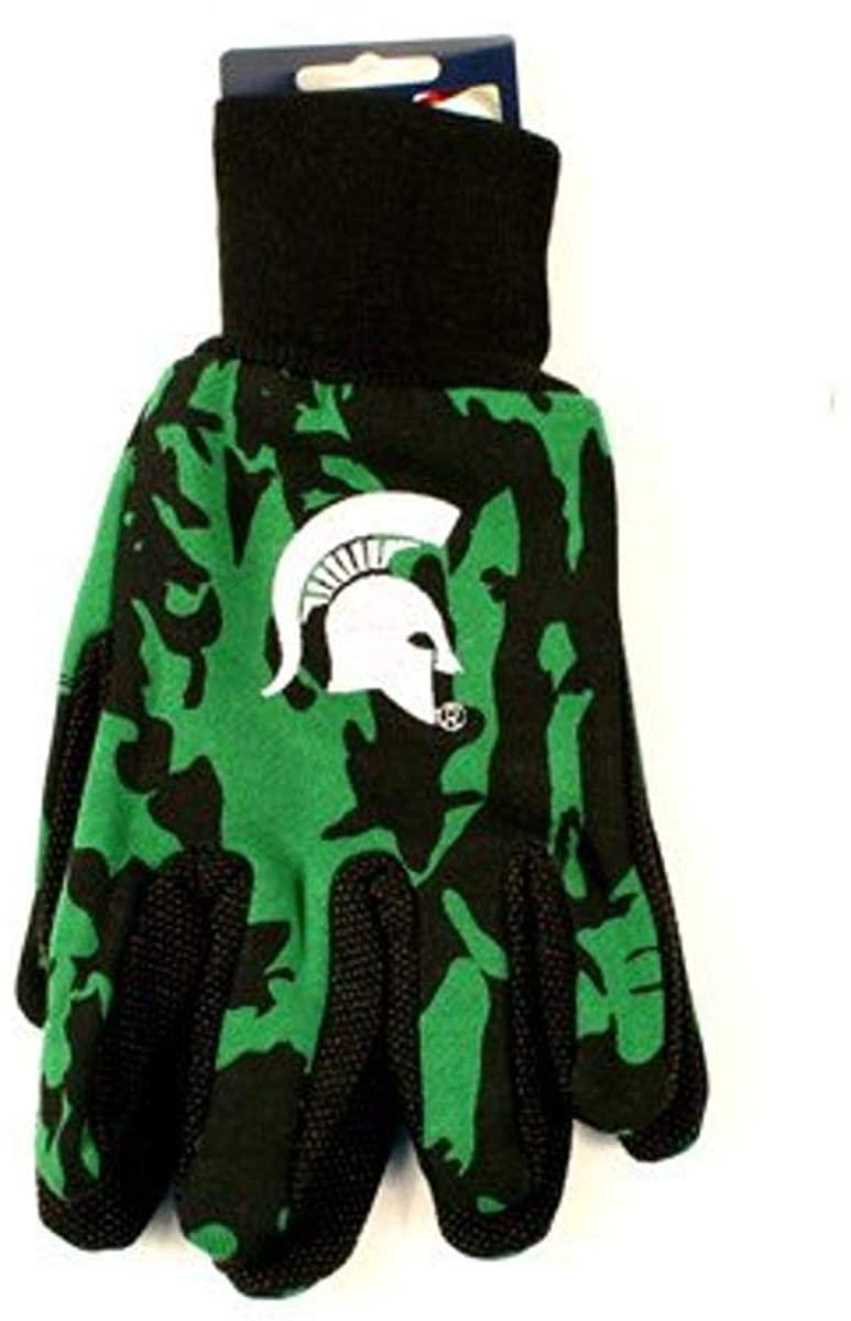 NCAA Michigan State Spartans Camo Gloves, Green/Black
