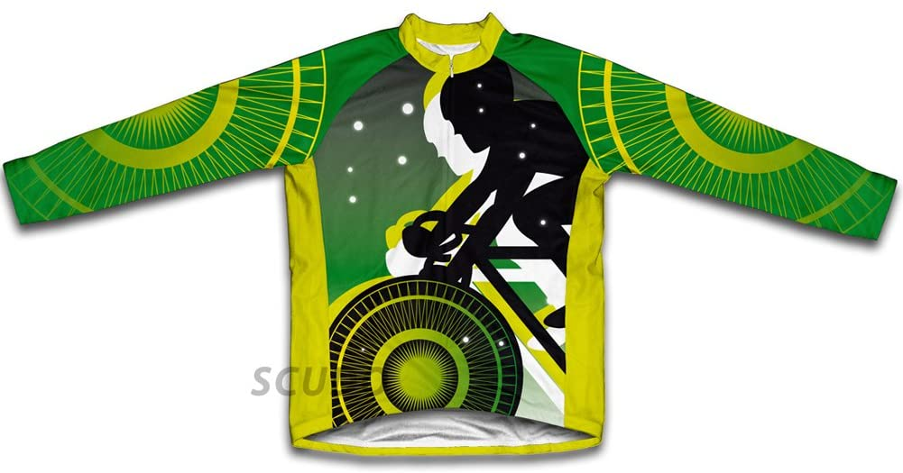 ScudoPro Green Lanter Biker Winter Thermal Cycling Jersey for Men