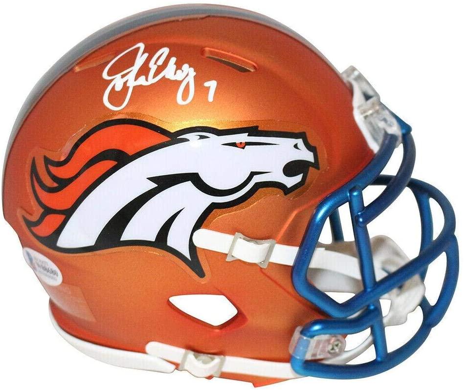 Signed John Elway Mini Helmet - Blaze BAS 25330 - Beckett Authentication - Autographed NFL Mini Helmets