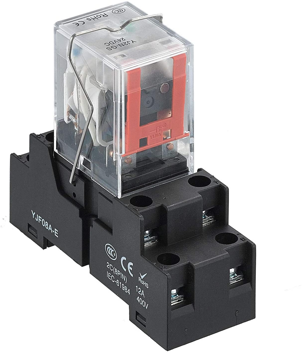 APIELE 12V DC Electromagnetic Power Relay MY2NJ HH52P Coil 2PDT 2NO+2NC 8 Pins 5A with Indicator Light With Base (12V DC)