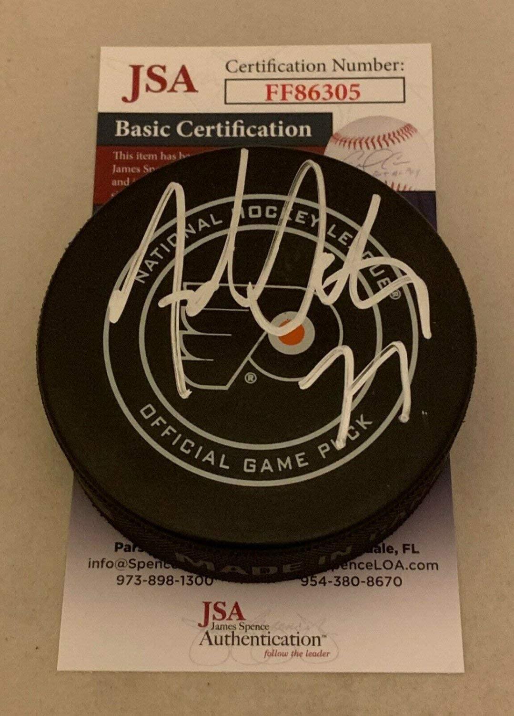 Authentic Autographed Adam Oates Bruins Philadelphia Flyers Game Puck HOF JSA