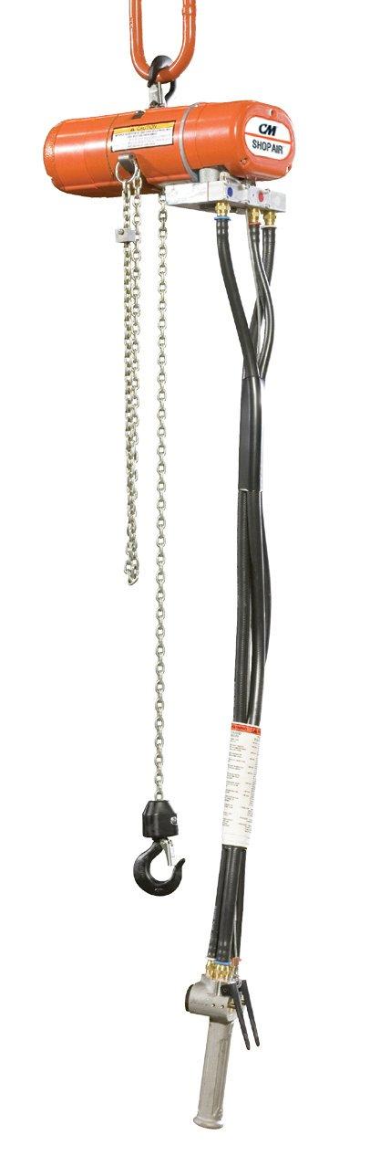 CM 2178 ShopAir Air Chain Hoist with Swivel Hook, 250 lbs Capacity, 10' Lift Height, 31 fpm Lift Speed, 34 cfm, 90 psi