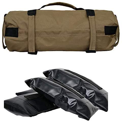 Heavy Duty Sandbags for Fitness, Adjustable Sandbag with 4 Inner Bags for Functional Strength Training Exercises (0-60lb)(Yellow)