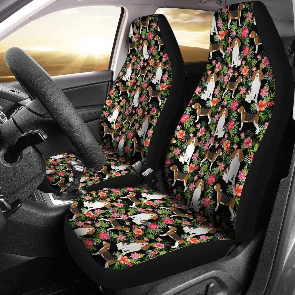 wonderfulpetloverstore Beagle Dog Floral Print Car Seat Covers
