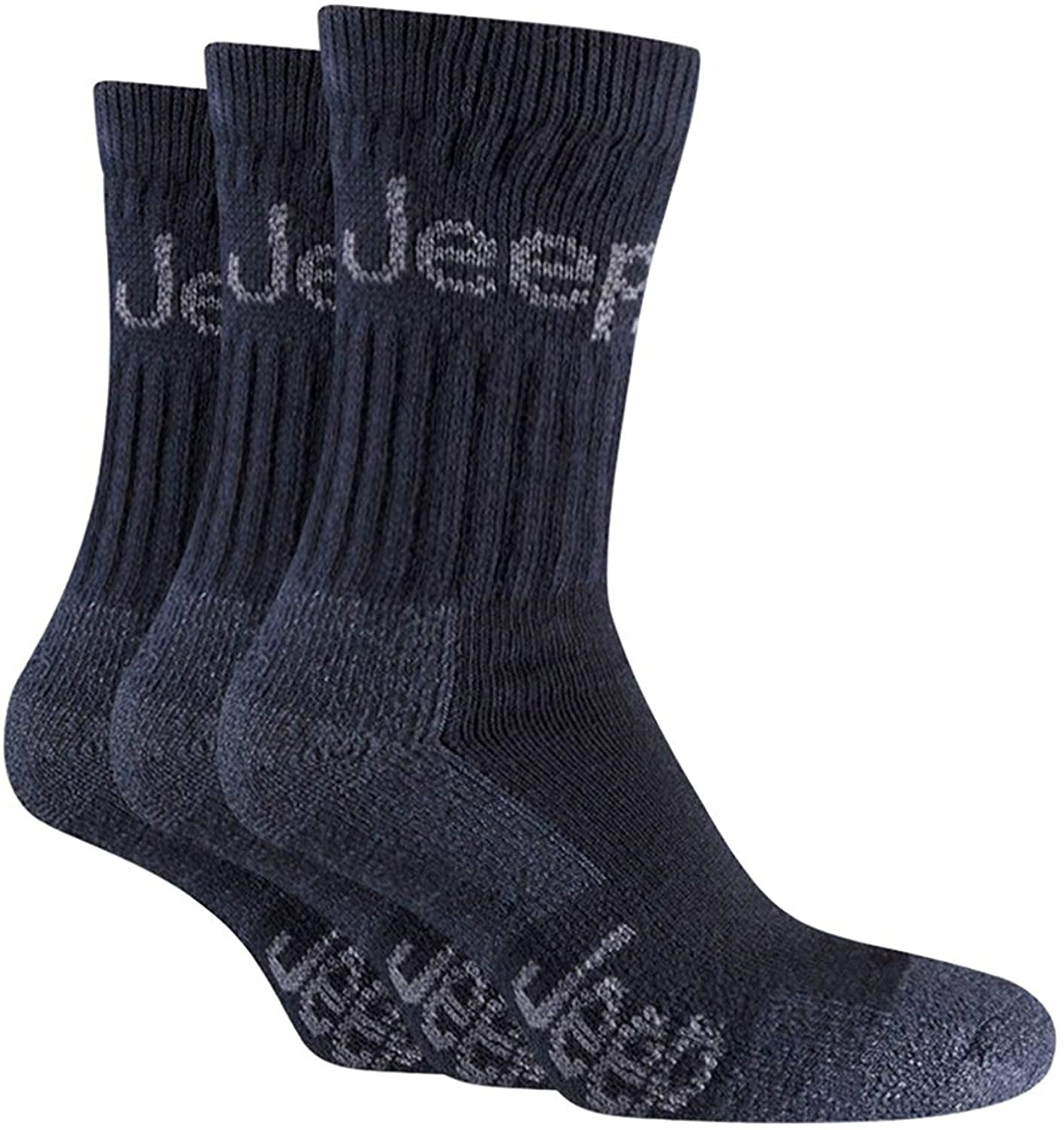 Jeep - 3 Pack Mens Thick Heavy Cushioned Padded Cotton Hiking Boot Crew Socks