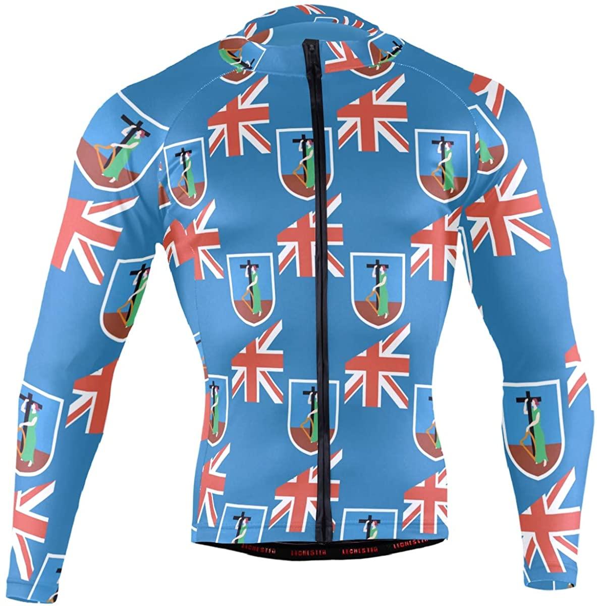 Montserrat Flag Men's Long Sleeve Cycling Jersey Bicycle Jacket Pockets Full Zipper Bike Biking Shirts
