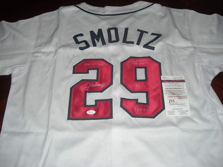 John Smoltz Signed Jersey - 96 Cy 1995 Ws Champs full Stats coa - JSA Certified - Autographed MLB Jerseys