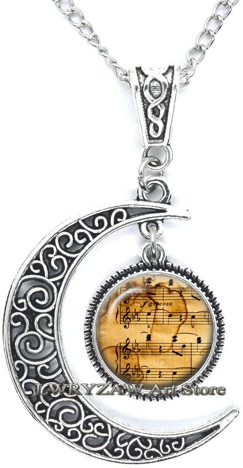 Sheet Music Necklace, Musician Pendant, Music Player Art Gifts,Music Jewelry, Music Teacher Gift, Music Lover Gift Necklace,M348