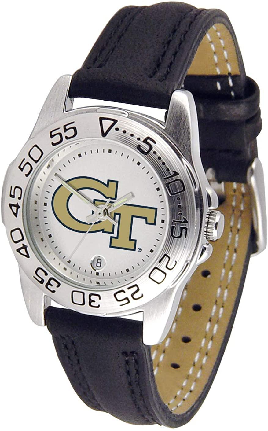 SunTime Georgia Tech Yellowjackets NCAA Sport Ladies Watch (Leather Band)