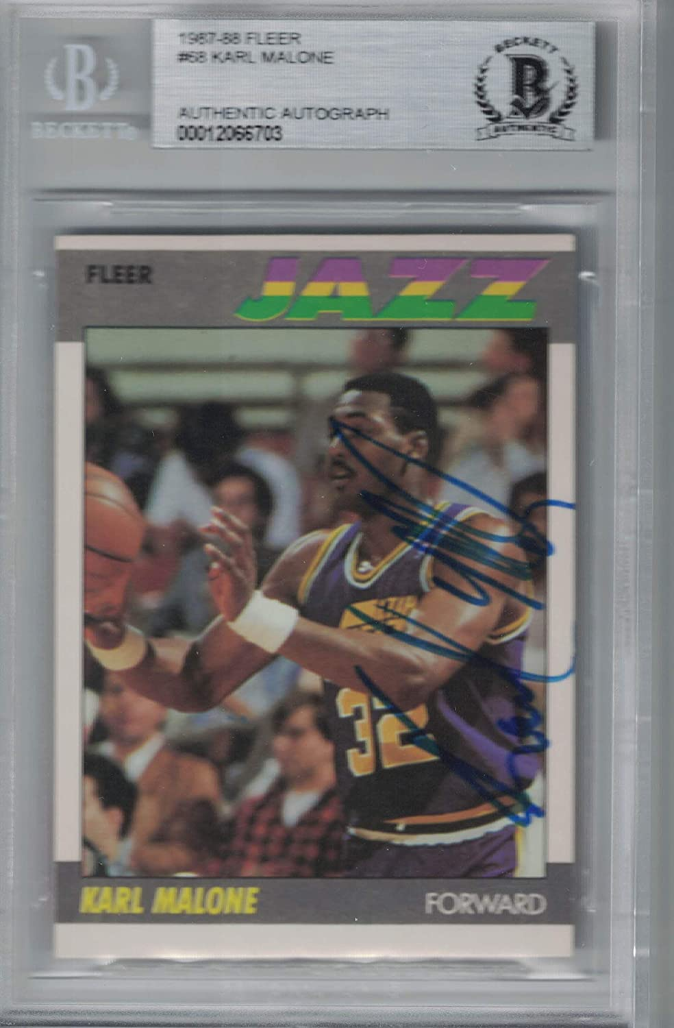 Beckett Authentic 1987 Fleer Karl Malone On Card Autograph (2nd Year)