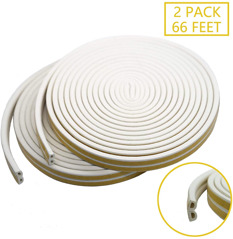 Door Weather Stripping Window Seal Strip Anti-Collision Self Adhesive Foam Draft Stopper, 2 Pack Total 66 Feet, White