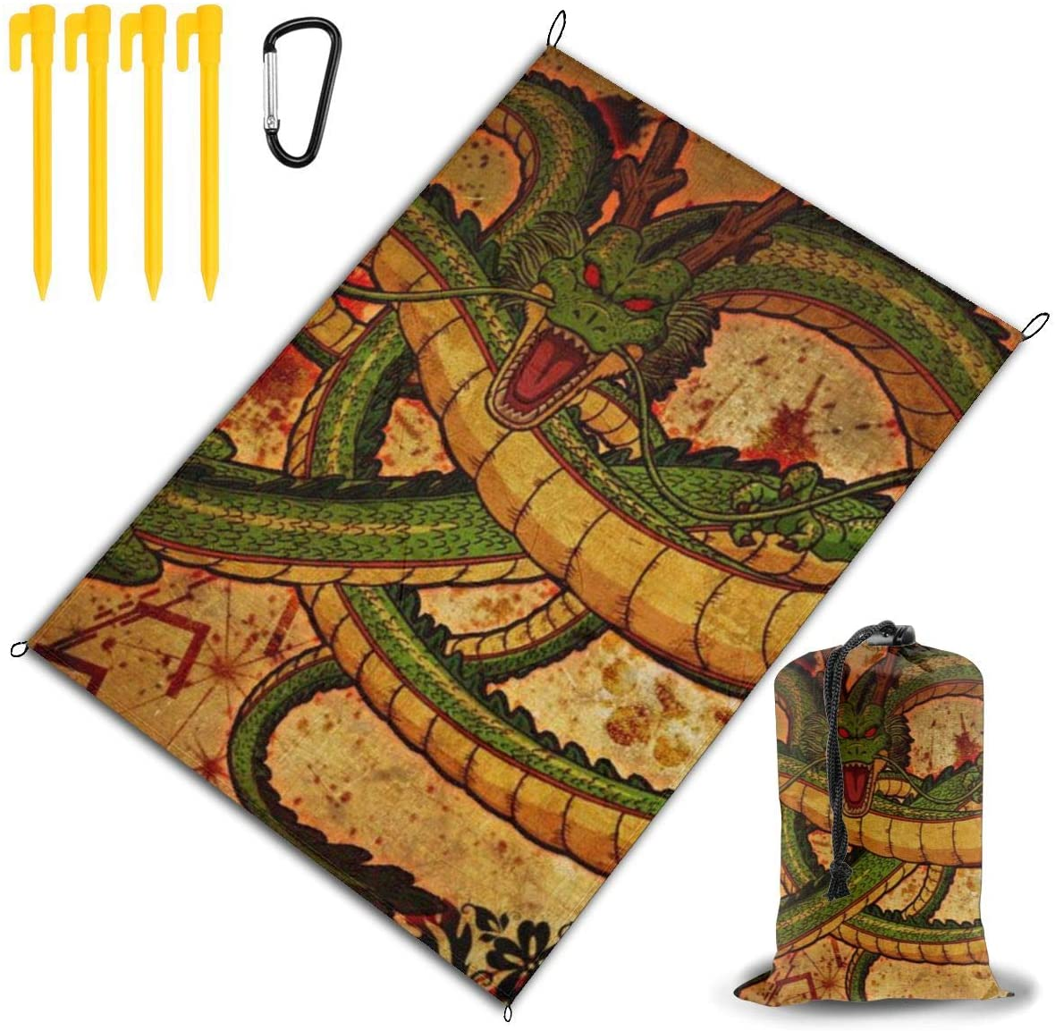 THONFIRE Beach Picnic Blanket Chinese Dragon Waterproof Large Outdoor Handy Mat Sand Proof Camping Travelling Accessories Packable Family Tote On Lawn RV Quick Dry Bag