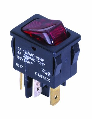 NTE Electronics 54-080 Nylon Miniature Snap-in Rocker Switch, SPST Circuit, ON-None-Off Action, Polycarbonate Actuator, 0.187