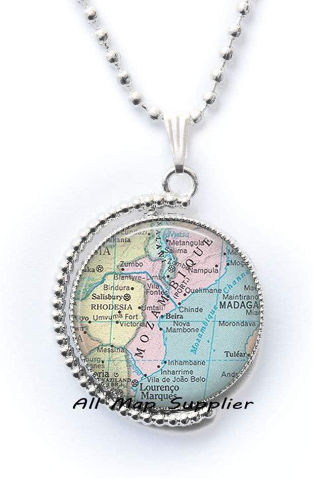 AllMapsupplier Fashion Necklace,Panama City,Mozambique map Necklace,Mozambique map Pendant,Mozambique Pendant,Mozambique Necklace map Jewelry,A0281