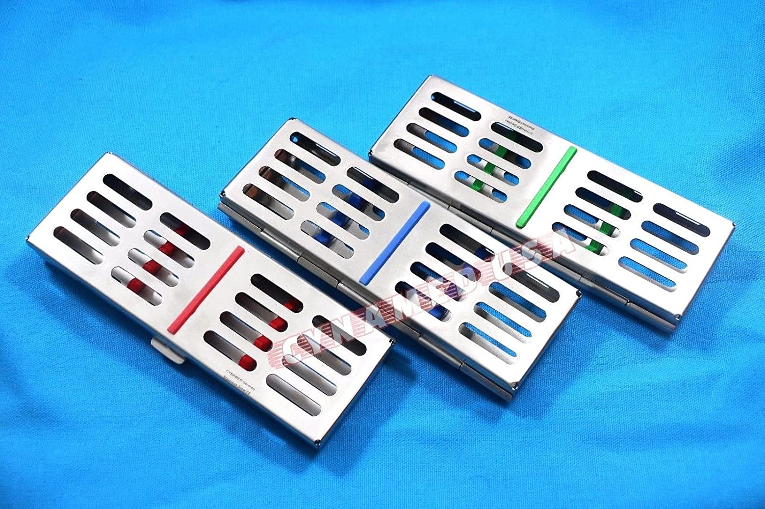 New Set of 3 German Stainless Dental Autoclave Sterilization Cassette Rack Box Tray for 5 Instruments Set of 3 Colored