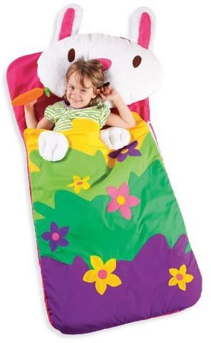 Sillies Lilly the Bunny with Carrot Kids Animal Sleeping Bag with Plush Pillow Machine Washable Folds Into a Bag With Handle