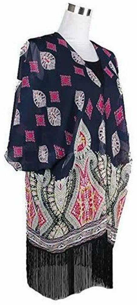 A-cool Womens Light Floral Print Chiffon Kimono Cardigan Coverup Blouse Tops