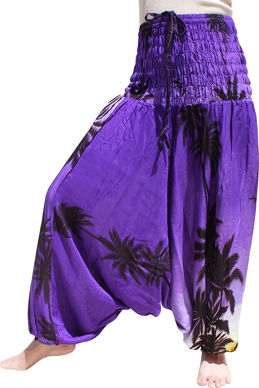 Full Funk Rayon Elastic Smock Top Mao Harem Pants Mixed Hawaii Artwork