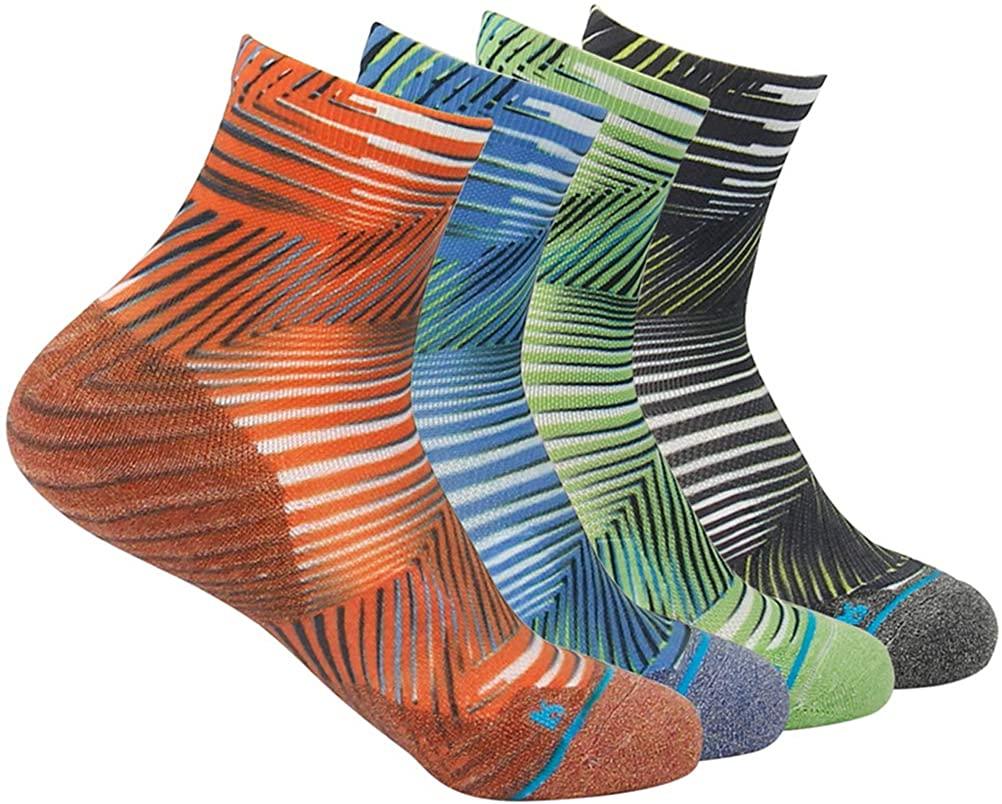HUSO Unisex Digital Printed Quick Wicking Quarter Hiking Socks 4 Pairs