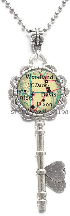 University of California at Davis Key Necklace, UC Davis Aggies Pendant Graduation Gift Woodland Dixon CA College map Key Necklace,N308