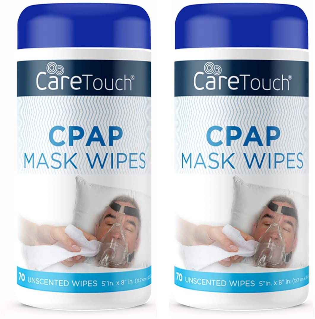 Care Touch CPAP Mask Cleaning Wipes - Unscented   2 Packs of 70 Unscented Cleaning Wipes for CPAP Masks (140 Total)   Made in The USA