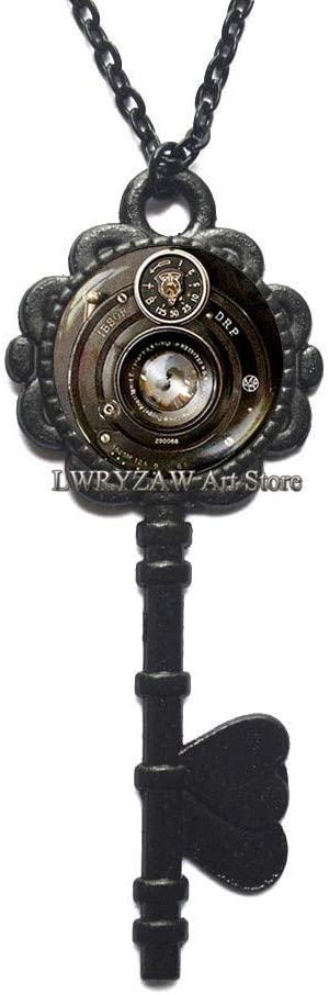 Photographer Jewelry Camera Lens Pendant Antique Key Necklace,Camera Key Necklace,Photographer Key Necklace Traveler Gift Tourist Gift,M29