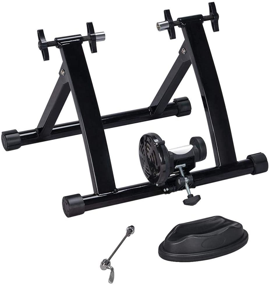 YAHEETECH Indoor Magnet Steel Bike Bicycle Exercise Trainer Stand Resistance Stationary Bike Trainer w/Front Wheel Support and Quick Release Skewer
