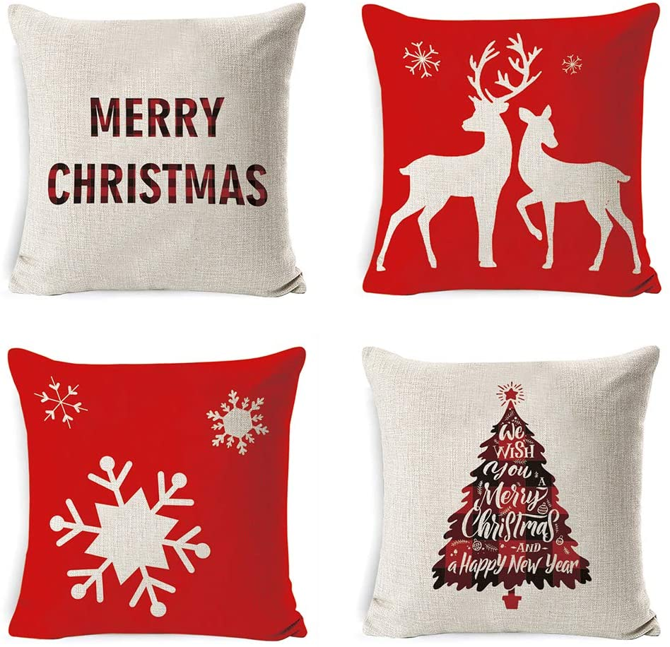 AODOOR Merry Christmas Decorations Throw Pillow Covers Set of 4 Home Decor Cotton Linen Throw Pillow Covers Cushion Cover 18x18 inch