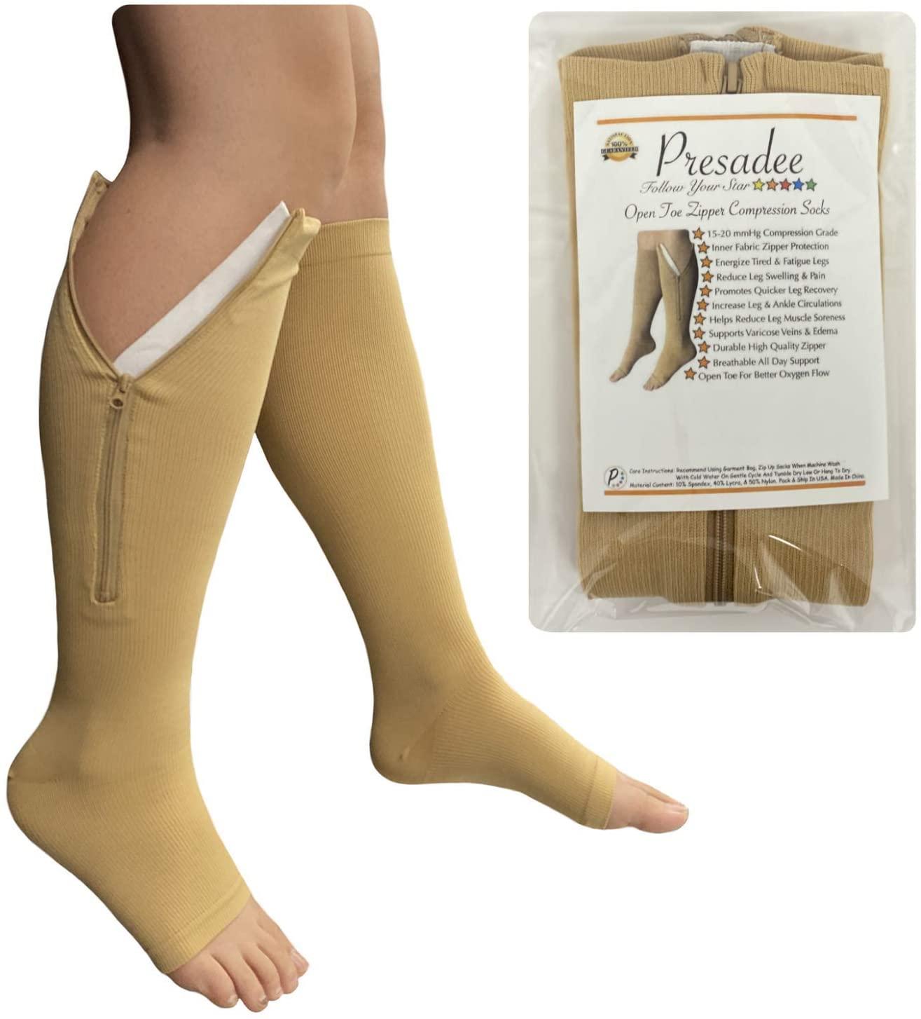 Presadee Open Toe 15-20 mmHg Moderate Compression Leg Calf Swelling Zipper Sock (Beige, S/M)
