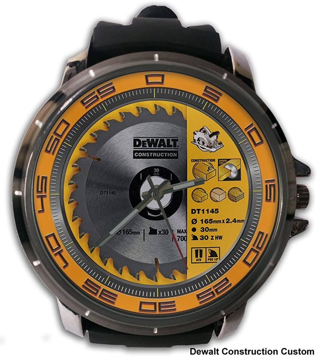 Hot New Custom Dewalt Contruction Power Tools Logo Sport Wristwatch Sport Big Face Rubber Band