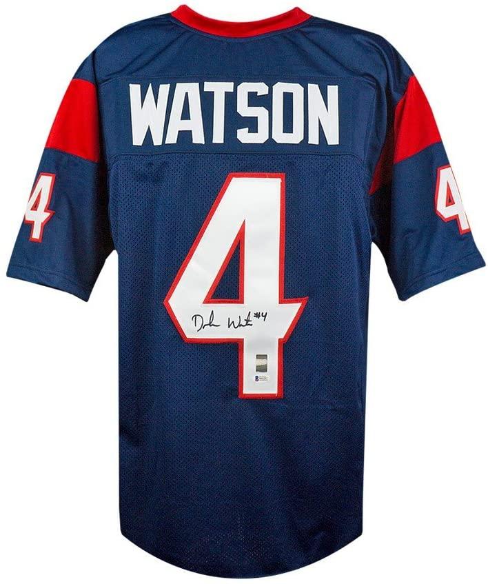 Deshaun Watson Autographed Houston Texans Custom Navy Football Jersey - BAS COA