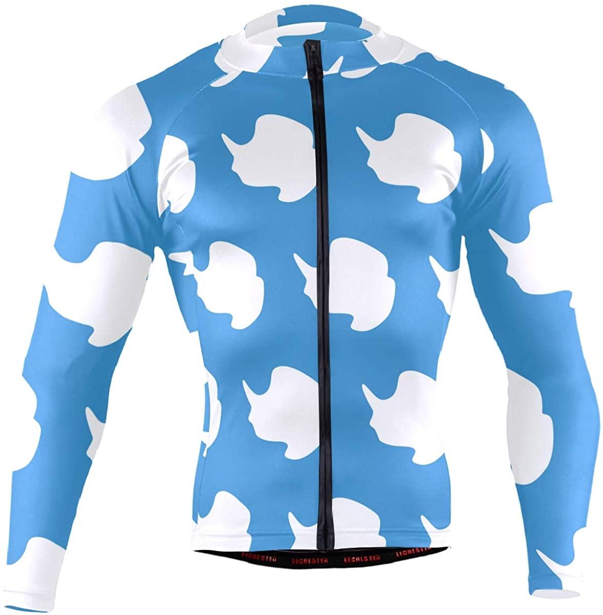 Antarctica Flag Men's Long Sleeve Cycling Jersey Bicycle Jacket Pockets Full Zipper Bike Biking Shirts