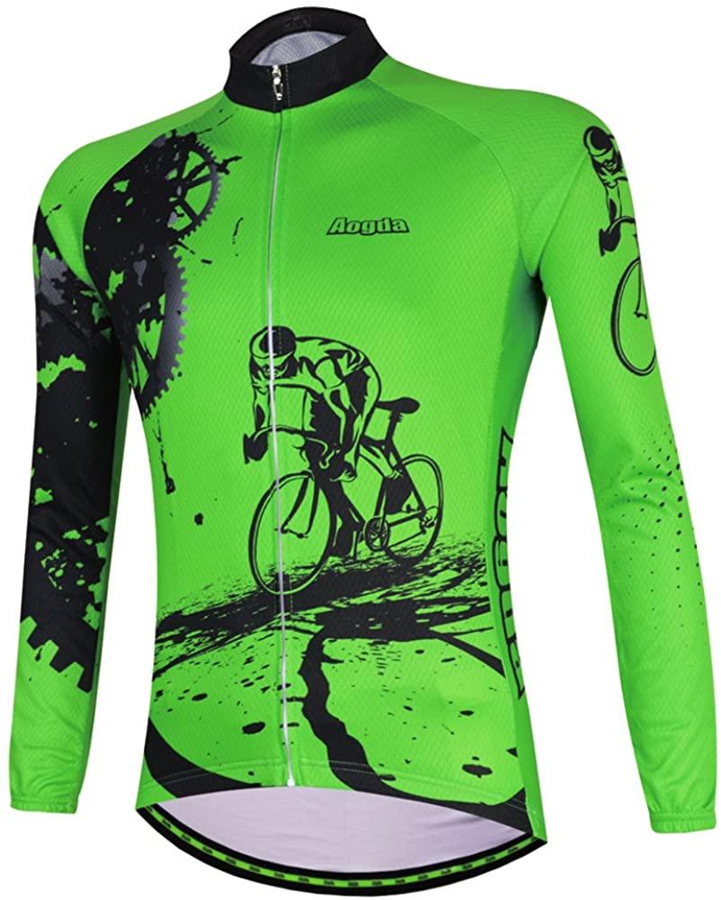 Aogda Long Sleeve Cycling Clothing Bike Shirts Men Winter Thermal Cycling Jerseys Jacket Coat