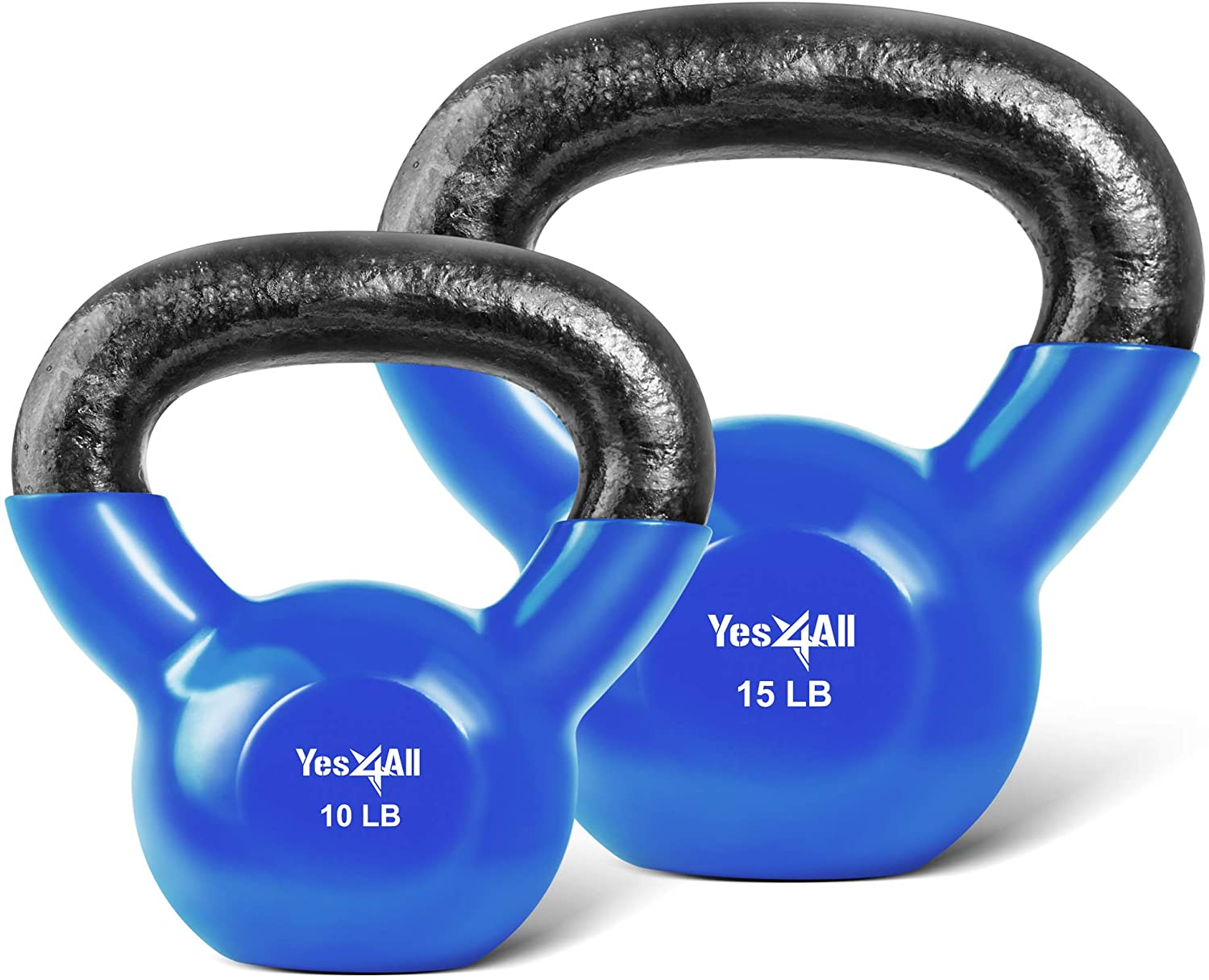 Yes4All Combo Vinyl Coated Kettlebell Weight Sets – Great for Full Body Workout and Strength Training – Vinyl Kettlebells 10 15 lbs, Blue, Model: K9OF