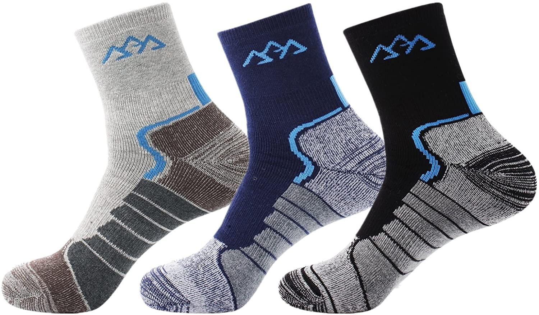 Airka Men's Hiking Socks 3 Pairs - Full Thickness Micro Crew For Trekking Mountaineering