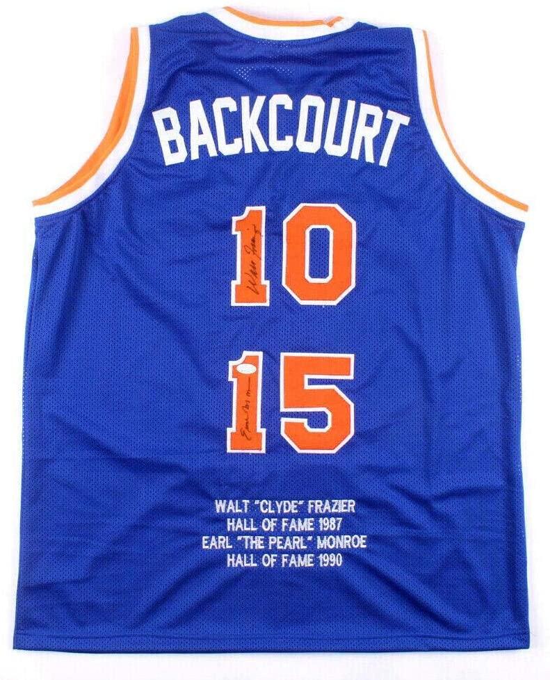 Walt Frazier Earl Monroe 1972-73 Champs signed Knicks Backcourt Jersey auto - JSA Certified - Autographed NBA Jerseys