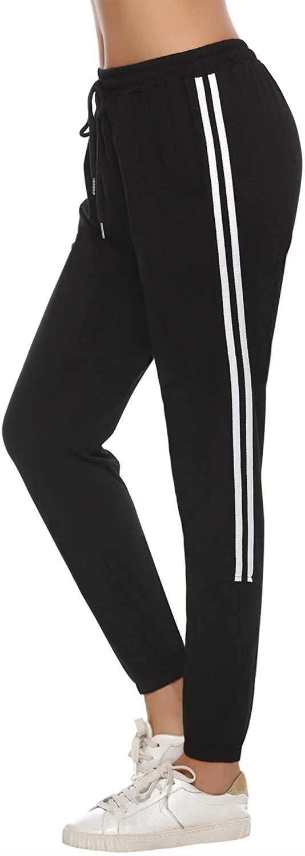 Aibrou Women Jogger Sweatpants Drawstring Waist Striped Side Cotton Yoga Workout Bottoms with Pocket