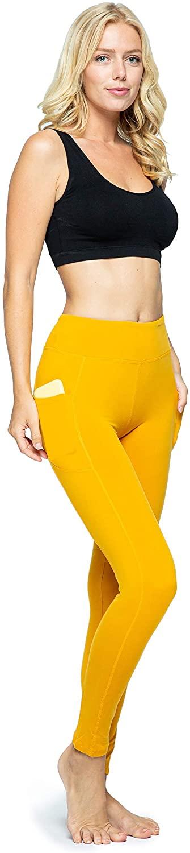 OCOMMO Leggings with Pockets for Women, Tummy Control High Waisted Womens Yoga Leggings Mustard