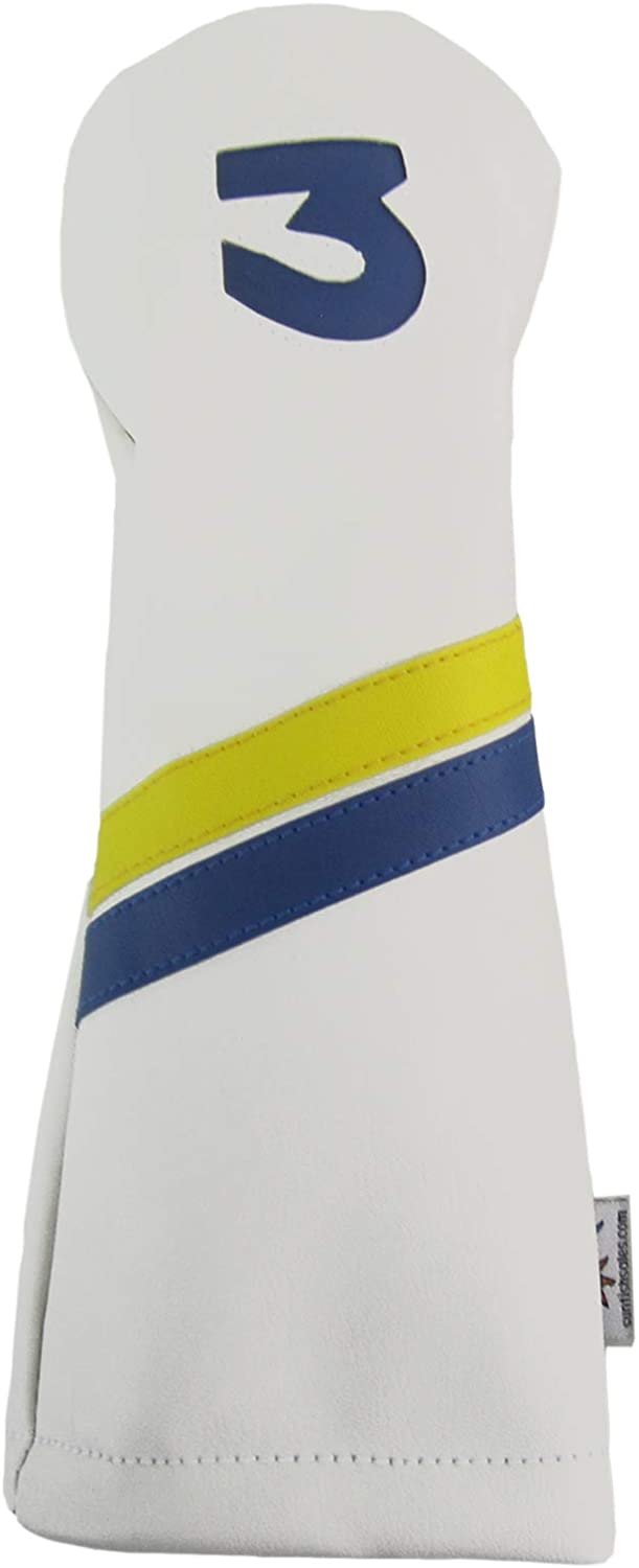 Sunfish Leather Fairway 3 Wood Golf Headcover White, Yellow, Blue