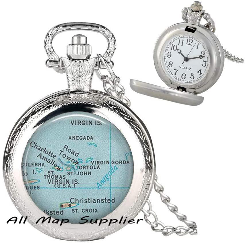 AllMapsupplier Fashion Pocket Watch Necklace,Virgin Islands map Pocket Watch Necklace,St Thomas map Pendant,St Croix map Pendant,Charlotte Amalie Caribbean mapPocket Watch Necklace,A0215
