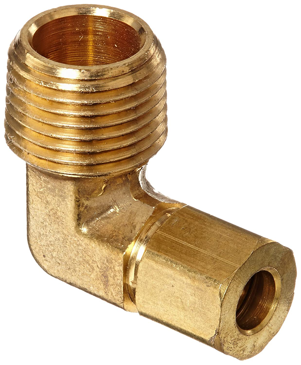 Anderson Metals 50069 Brass Compression Tube Fitting, 90 Degree Elbow, 1/4