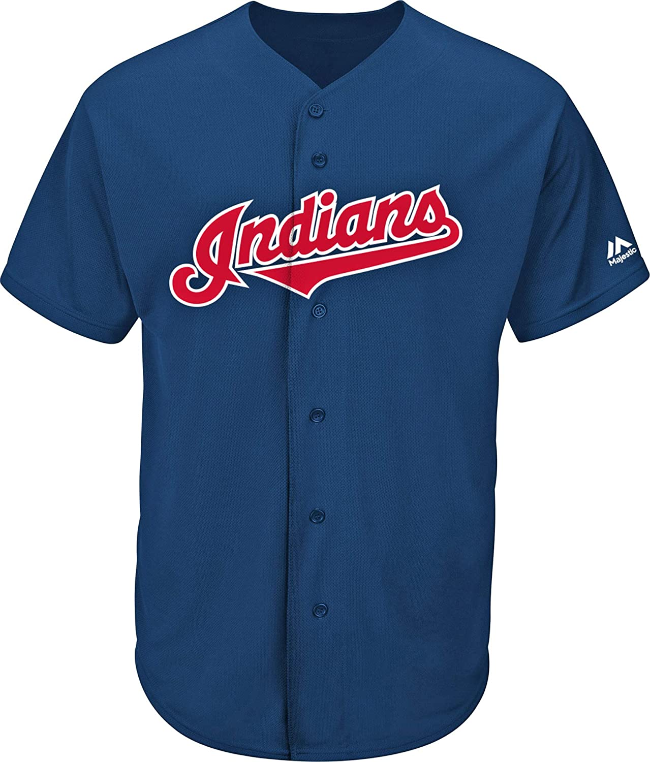 Majestic Athletic Adult Medium Cleveland Indians Blank Back Replica Full-Button Navy Blue